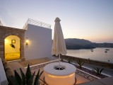 Lindos Shore Boutique Villa courtyard  with sea view at night