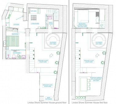 Lindos Shore Summer House layout drawing of ground floor