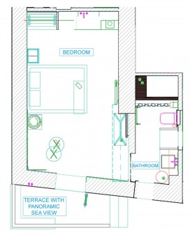 Lindos Shore Superior Studio layout drawing